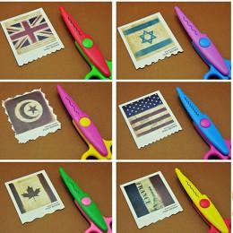 6 piezas/lote niños tijeras de papel para manualidades 6 patrones de corte bordes curvos tijeras decorativas DIY para álbum de r