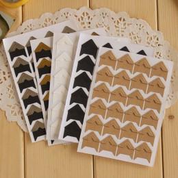 24 unids/lote DIY Vintage Corner kraft papel pegatinas para álbumes de fotos álbum de recortes para decoración de Marcos envío g