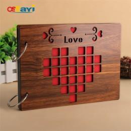 Álbumes de fotos 8 pulgadas de madera roja caliente álbumes hechos a mano de hoja suelta pegado álbum de fotos personalizado beb