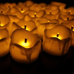 24 unids sin llama parpadeo amarillo Tear cera de la gota de la vela de Mini con pilas luces del té nuevo llega realista Led par