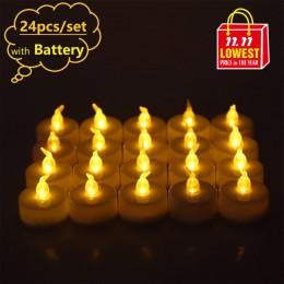 24 unids/set de velas Led parpadeantes para la decoración de la boda de cumpleaños