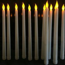 30 piezas 11 pulgadas Led parpadeo operado por batería Marfil sin llama cónico vela lámpara palo vela boda Mesa 28cm (H)-ámbar