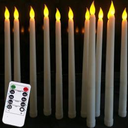 Paquete de 12 velas LED de control remoto parpadeantes amarillas, velas cónicas de plástico sin llama, led bougie para la decora