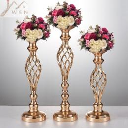 Creativo hueco oro/plata metal candelabro mesa de centro de mesa boda florero estante Hogar y hotel Camino Decoración