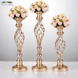 10 unids/lote floreros candelabros de camino mesa de plomo centro de mesa de Metal de oro candelabro de pilar para candelabro de