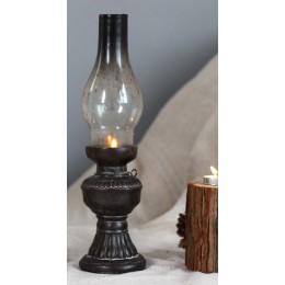 Artesanías creativas de resina nostálgico queroseno lámpara candelabro decoración de vela cubierta de vidrio Vintage candelabros