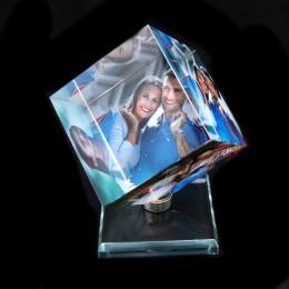 Marco de fotos en forma cuadrada cristal giratorio Impresión de álbum de fotos cristal boda recuerdo regalos de cumpleaños 3 fot