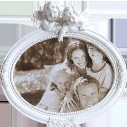 Marco de fotos de resina blanca plateada Retro Set Up marco de fotos creativo Cupido foto decoración del hogar marco de fotos de