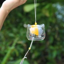 2019 nuevo patrón de cristal de gato campana de viento japonés hogar jardín colgante decoración DIY regalo