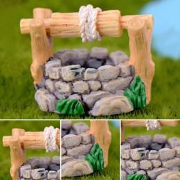 1 pieza DIY jardín miniaturas decoraciones Vintage casa agua pozo multicolor hadas jardín fiesta Mini ornamento
