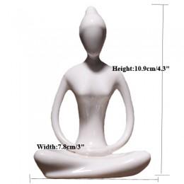 Ermanikon 12 estilos Arte Abstracto cerámica Yoga Poses figurita porcelana Yoga Lady figura estatua hogar Yoga Studio decoración