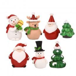 7 unids/set miniatura árbol de Navidad Santa Claus hombre de nieve accesorios para terrario caja de regalo estatuillas de hadas