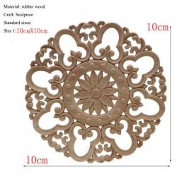 1 pieza única de madera Floral Natural tallada figuritas de madera artesanías apliques de esquina Marco de pared puerta muebles