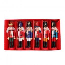 Our warm 6 uds. Muñeca de Cascanueces de madera soldado figuras miniatura Vintage hecho a mano marioneta Año Nuevo Navidad adorn