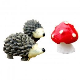 3 unid/set artesanía de resina de musgo de jardín Mini erizo rojo punto hongo miniatura adorno erizo decoración Jardín de hadas