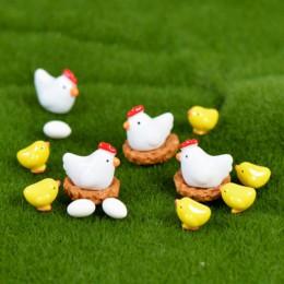 Zoclou 10 piezas nido de gallina y pollo huevo de gallina pequeña estatua de pastura figurita Micro artesanías ornamento miniatu