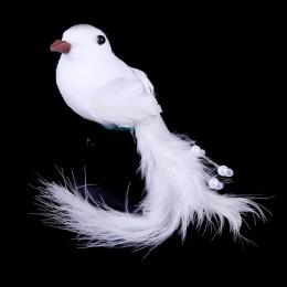 2 uds. Palomas falsas decorativas blanco pluma de espuma Artificial adorno de boda artesanía hogar Mesa decoración pájaro juguet