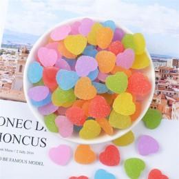 10 unids/lote caramelo falso cabujón plano de resina forma de corazón simulación de alimentos DIY Scrapbooking adorno decoración