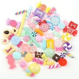 30 unids/lote diseño de colores mixtos cabujones con parte posterior plana resina Glitter Pastel confeti resina de caramelo para