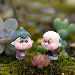 2 uds. Mini figuras de bailarines de los padres de resina miniaturas artesanales decoración de jardín de hadas terrario para bon