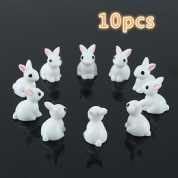 10 Uds. Miniconejo miniatura encantador jardín de resina ornamento de hadas flor maceta hogar figurita Animal decoración @ LS JU
