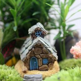 Casa de piedra Hada en miniatura de jardín artesanía Micro decoración paisajística de casa rural para bricolaje artesanía con re