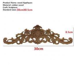 Rectángulo tallado apliques de madera Natural para muebles gabinete sin pintar molduras de madera calcomanía Vintage decoración