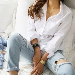 2019 primavera un bolsillo mujer camisa blanca blusa femenina Tops de manga larga Casual cuello vuelto OL estilo Mujer blusas su