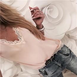 2019 Blusa de mujer Tops de verano Top Casual suelto de manga corta de encaje sólido cuello en V blusas de gasa camisas femenina