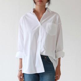 Camisas sueltas informales para mujer 2019 otoño nueva moda cuello más blusa de talla larga botones de manga larga camisa blanca