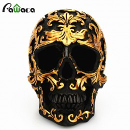 Resina artesanía calavera negra cabeza dorada tallada en Halloween fiesta decoración escultura de cráneo ornamentos decoración d