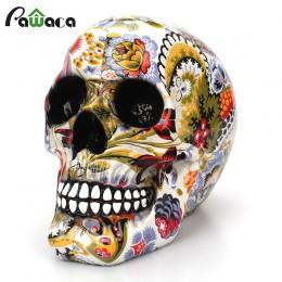 Horror calavera decoración resina esqueleto humano calavera Color flor pintura Halloween mesa de bar casera decoración de escrit