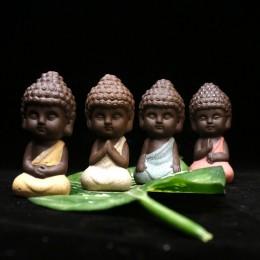 Pequeña estatua de Buda figurita de monje tathagata India Yoga Mandala té mascota púrpura cerámica artesanías decorativas de cer