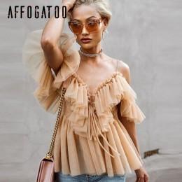 Affogatoo Sexy cuello en v de hombro peplum blusa top mujeres plisado vintage volantes malla blusa camisa Casual verano sin mang