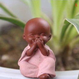 Adornos de cerámica pequeño monje estatua de Buda figura de monje Tathagata India Yoga Mandala té mascota púrpura cerámica artes
