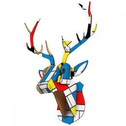 DIY 3D madera Animal cabeza de ciervo modelo de arte hogar Oficina colgante de pared decoración soportes de almacenamiento basti
