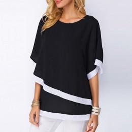 Blusa de gasa 2019 nuevo Casual de manga corta para Mujer Tops y Blusas de moda camisa de retazos blusa Mujer talla grande 5XL
