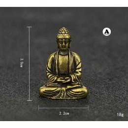 Mini portátil Retro latón Buda Zen estatua bolsillo sentado Buda mano juguete escultura hogar Oficina escritorio decorativo rega