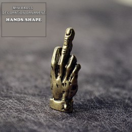 Mini latón manos dedo arriba estatua portátil estilo Punk decoración ornamento escultura hogar Oficina escritorio ornamento dive