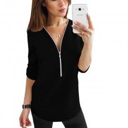 Camisetas de mujer de manga corta con cremallera Sexy cuello en V sólido para Mujer Tops y blusas camisetas informales Tops ropa