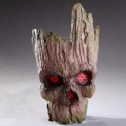 Accesorios de decoración del hogar moderno PVC cráneo maceta árbol hombre Halloween decoración escultura de cráneo figuras cabez