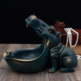 Abstracto hipopótamo estatua decoración resina arte escultura estatua decoración llave almacenamiento herramienta decoración Hog