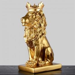 2019 nueva creativa moderna corona dorada estatua de León negro escultura de estatuilla Animal para la decoración del hogar ador