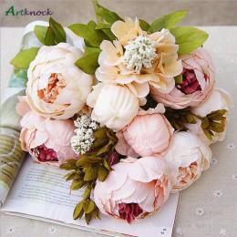 1 manojo peonía Artificial Europea decorativas flores falsas de seda para fiesta peonías para la decoración del Hotel del hogar