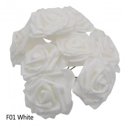 25 jefes de 8CM nuevo colorido PE artificial espuma Rosa Flores ramo de novia de boda Casa Decor DIY Scrapbooking suministros