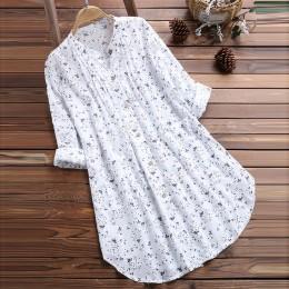 Blusas de mujer cuello en V plisadas estampado Floral de manga larga Casual Tops blusa damas Blusas Lange Mouwen Blusas de mujer