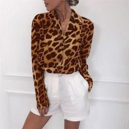 Blusa Vintage de manga larga Sexy estampado de leopardo blusa cuello vuelto señora Oficina camisa túnica Casual sueltas Blusas d