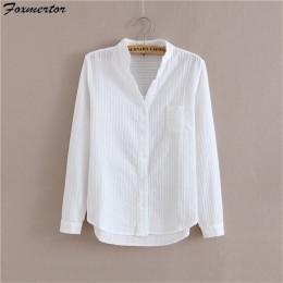 Foxmertor 100% Camisa de algodón de alta calidad blusa de mujer de Otoño de manga larga camisas blancas sólidas delgadas mujeres