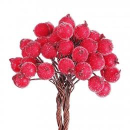 40/100 Uds. Decorativo Mini Navidad escarchada Artificial baya vívida roja acebo baya acebo hogar guirnalda nueva hermosa