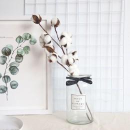 Rama Floral de plantas artificiales con flores de algodón secado natural para decoración de fiesta de boda flores falsas decorac